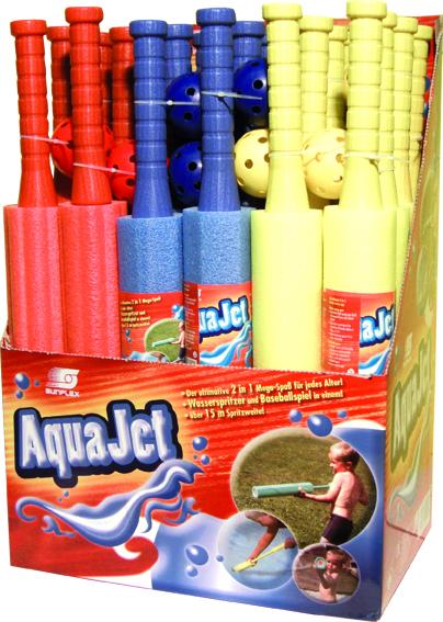 AquaJet, die Wasserspritze, die superweit spritzt gibts in rot, blau und gelb.