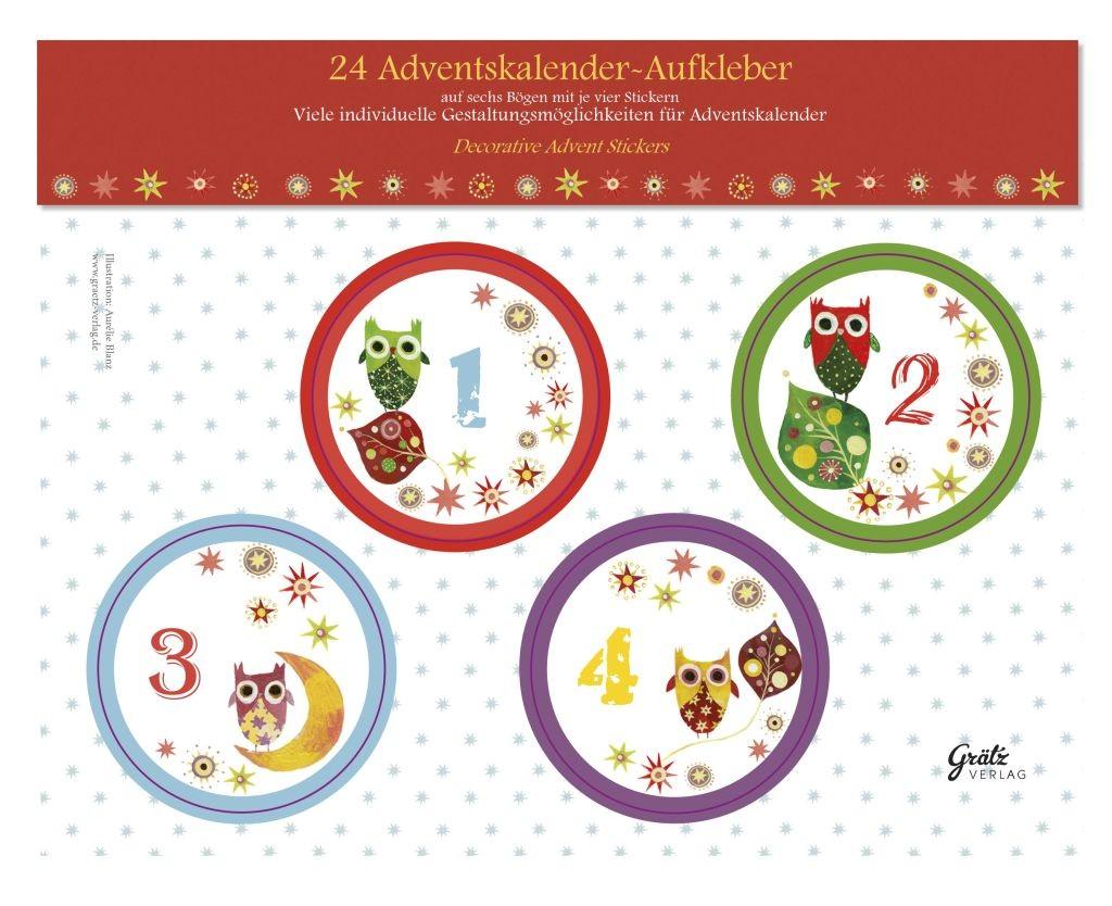 24 Adventskalender Ideen - Aufkleber Zahlen