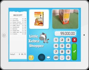 Ipad mit installierter App Little Zebra Shopper