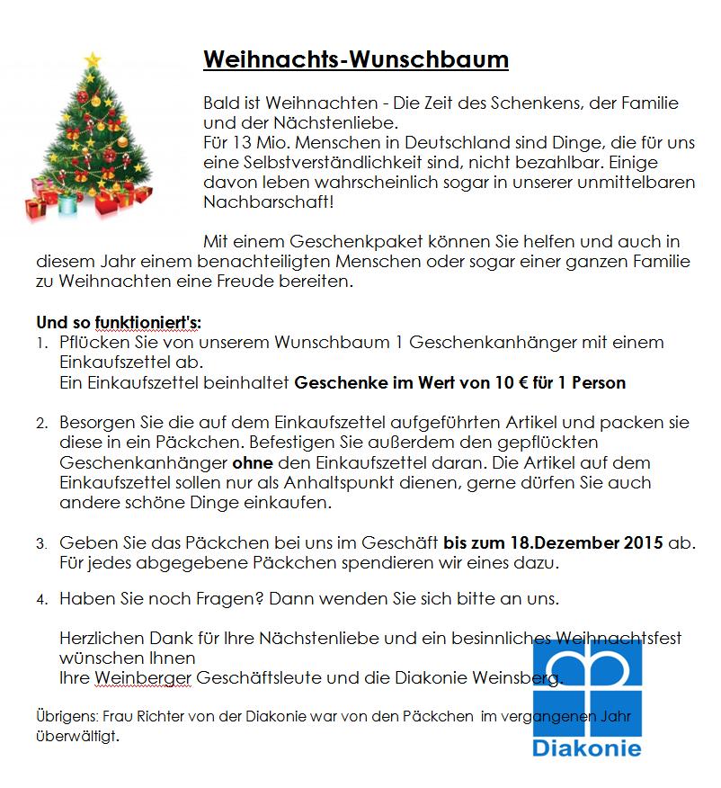 Wunschbaum - Freude schenken in der Weihnachtszeit